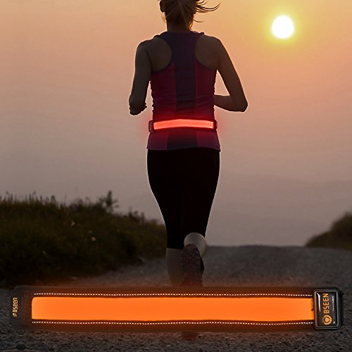 Bseen Running Belt - Reflective Waist Belt - LED Running Waist Belt USB Rechargeable Running Gear Light Weight Polyester Sport Belt Adjustable Elastic Band and Buckle for Runner - Runners For Gear
