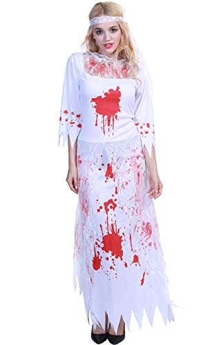 Honeystore Women's Bloody Dead Bride Costume Roleplay Cosplay Dress Up Outfits Red White S XLFT22191 ()