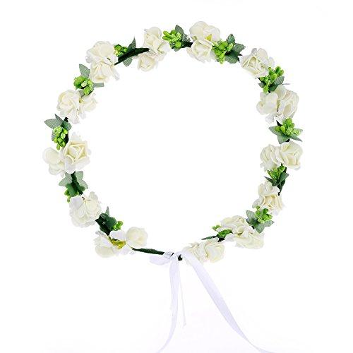 AWAYTR Flower Wreath Headband Floral Crown Garland Halo for Wedding Festivals (Cream White)  (Glam Maternity Tie)