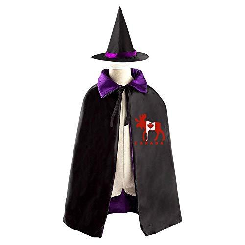 Halloween Costume Children Cloak Cape Wizard Hat Cosplay Moose Maple Leaf Canada For Kids Boys Girls -