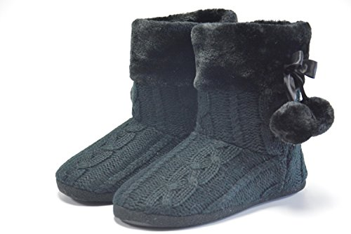 Black and Indoor Slipper FAIREE Pom Slippers knitted upper with Womens Poms Ladies AIREE Boots xwOqSgq