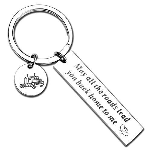 ecobuty Trucker Driver Keychain Trucker Husband Gift Drive Safe Keychain Long Distance Gift for Trucker Boyfriend Gift for Semi Truck Driver Keychain (Truck-KR)