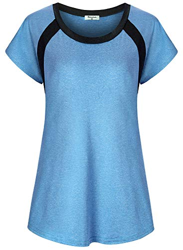 Bobolink Athletic Shirts for Women Short Sleeve, Teen Athleisure Wear Workout Running Tops Round Collar Casual Wear Knitted Blouse Moisture Wicking Essential Yoga Tunic Gym Sports Clothes,Blue Large