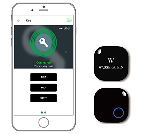 Bluetooth Key Finder, GPS Smartphone Tracker, Smart Anti-Lost Alarm, Remote Camera Controller for iOS & Android Devices by Wasserstein (1, Black)