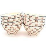 Euro Ceramica SIN-2272R Sintra Dining/Pasta Bowls, Set of 8, Red