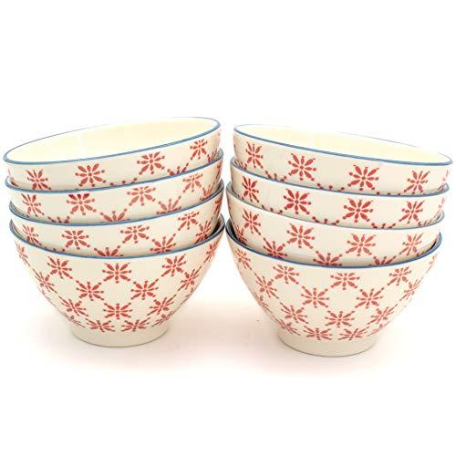 Euro Ceramica SIN-2272R Sintra Dining/Pasta Bowls, Set of 8, Red by Euro Ceramica Inc.