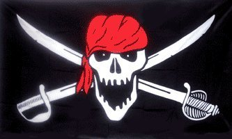 Brethren of the Coast RedHead Wrap Pirate Jolly Roger Skull and Crossbones Banner 5'x3' Flag