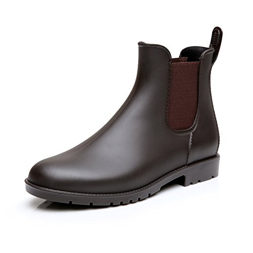 17KM Women's Black Ankle Rain Shoes Anti Slip Short Rain Boots Slip On Waterproof Chelsea Boots Brown