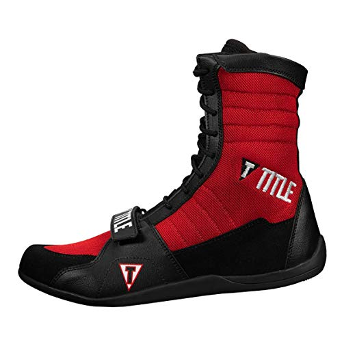 Title Boxing Ring Freak Boxing Shoes, Black/Red, 9