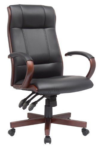 Comfort-Products-60-5836-Affinity-Ergonomic-Executive-Leather-Chair-with-Wood-Trim