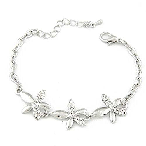 JSDY Womens Girls Ladies Cute Rhinestones Flower Cuff Bangle Bracelets Fashion Jewelry Silver