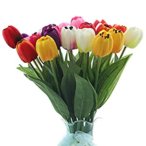B bangcool 16 Branches Artificial Flower Decorative Simulated Tulip Fake Flower for Easter Decor 2