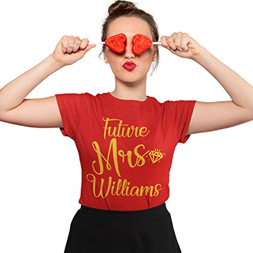 Personalized Future Mrs T-Shirt - Bride to Be Engagement Gift - Bridal Shower - Bachelorette Party Red