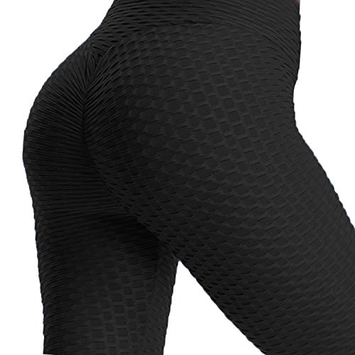 - 41dWmzoCddL - Womens High Waist Textured Workout Leggings Booty Scrunch Yoga Pants Slimming Ruched Tights