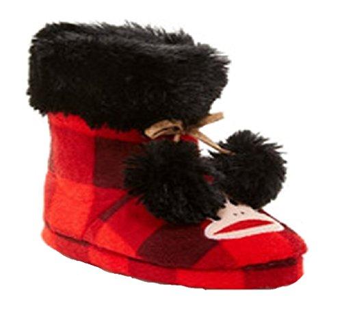 Paul Frank Womens Faux Fur Bootie Slippers - Monkey (Medium 7/8, Red & Black Check)
