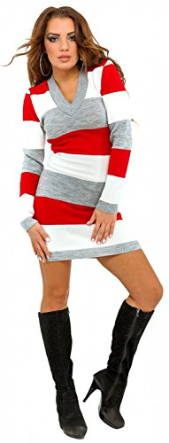 Moulante Pull Rayures Manches Longues Femme Glamour Empire Pull 405 Rouge et Robe wqTz77ZpU