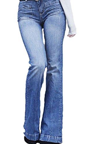 Jean Assistito Direttamente Alta Jeans Vita Blu Fanvans Regolare Donna FqHY1wBRUZ