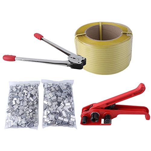 Genuine store Professional Pallet Strapping Banding Kits with 1003PCS Metal Seals for 12mm Strapping -Heavy Duty Sealer Tool & Tensioner Tool & Coil Reel Included for Packing ()