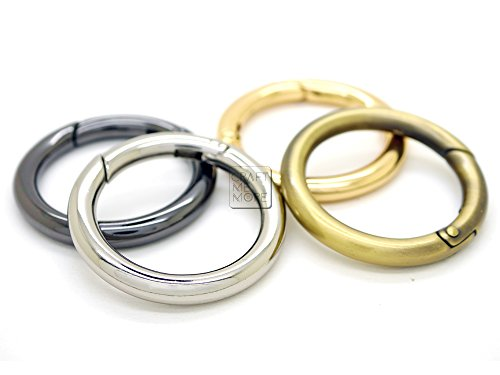 CRAFTMEmore 2PCS O Rings Snap Clip Trigger Spring Opening Keyring Buckle Purse Hardware ROO-12 (3/4 inch, Gold)