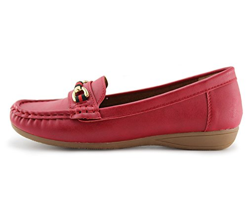 Jabasic Womens Slip-On Loafers Flat Casual Driving Shoes Leather Lined Red-1 s2ZHp
