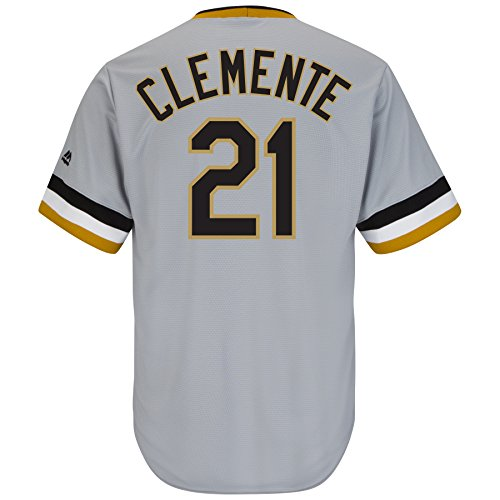 Majestic Roberto Clemente Pittsburgh Pirates Gray Cooperstown Cool Base Jersey (XXXL) (Roberto Clemente Baseball Jersey)