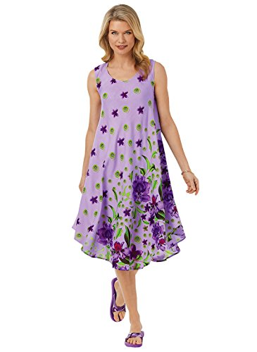 Tropical Border Dress, Color Iris Print, Size Medium, Iris Print, Size Medium