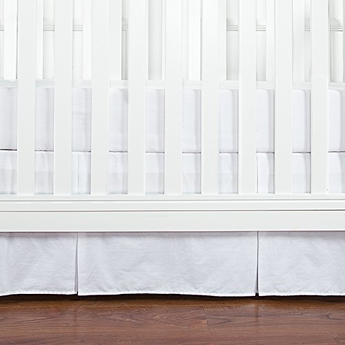 (TILLYOU Crib Bed Skirt Pleated, 100% Natural Cotton, Nursery Crib Toddler Bedding Skirts for Baby Boys or Girls, 14