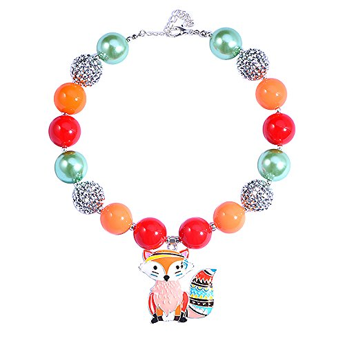 - Bling Bling Chunky Bubblegum Necklace Fox Fashion Beads with Gift Box for Baby Girls