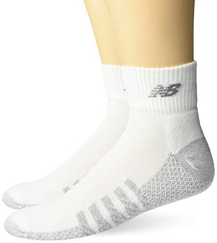 New Balance 2 Pack Coolmax Quarter Socks, White, Large