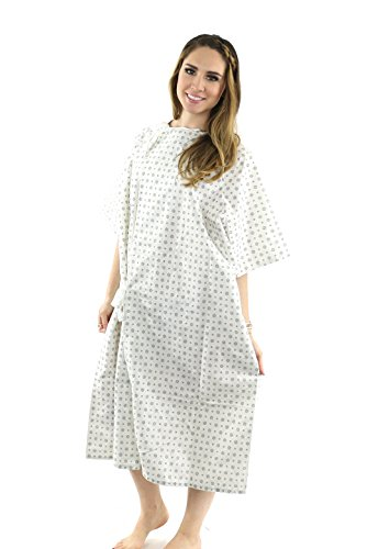 Hospital Gown Cotton Blend Useful Fashionable Patient Gowns Back Tie 46