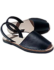 Simple Spaniard Woman Black Flats Avarca Black Sandals For Women (Size 7 US)
