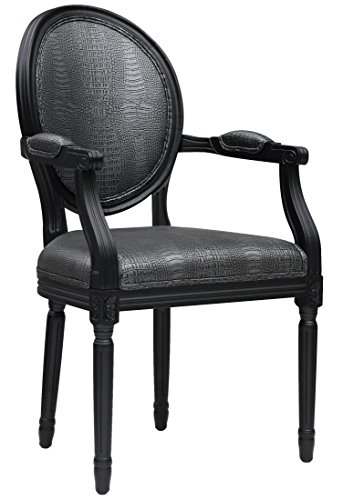 TOV Furniture The Philip Collection Traditional French Style Croc Pattern Eco-Leather Dining Room Arm Chair, Graphite Metallic ()