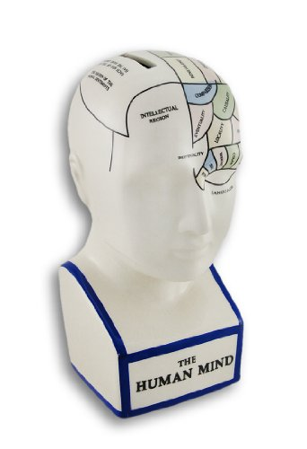 anks Phrenology Head With Colored Map Ceramic Coin Bank 3.5 X 7.5 X 4.25 Inches Multicolored ()