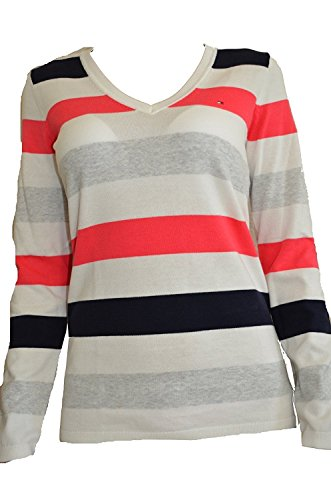 Tommy Hilfiger Women Pullover Sweater Striped (Medium) (Sweater Collegiate Striped)