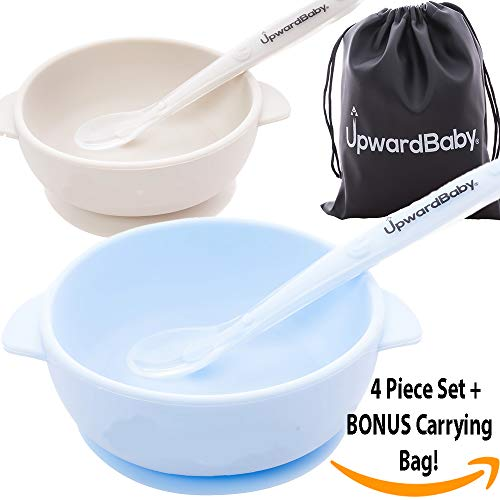 Spill Proof Silicone Baby Bowls with Guaranteed Suction Spoons Set | Bonus Carrying Bag | UpwardBaby | 5 Piece Set for Babies Kids Toddlers | BPA Free | See Video Demonstration