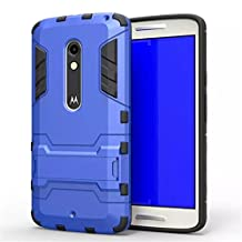 Moto X Play Case,Gift_Source TPU+Hard Case Dual Layer Armor Rugged Defender Protective Case With Built-in Kickstand For Motorola Moto X Play [Blue]