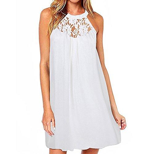 HGWXX7 Women Summer Casual Plus Size Solid Chiffon Strap Beach A-Line Mini Dress (M, -