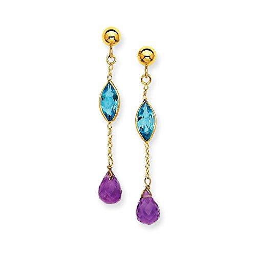ICE CARATS 14k Yellow Gold Purple Amethyst Blue Topaz Post Stud Earrings Drop Dangle Fine Jewelry Gift Set For Women (Amethyst 14k Gold Post Earrings)