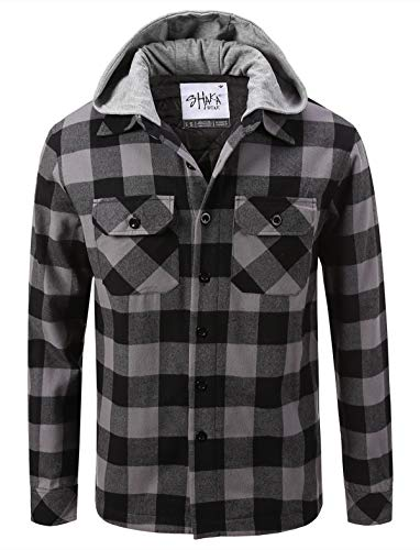 Shaka Wear FFJ0502_5X Hooded Flannel Jacket Quilted Iined Grey/Black - Shirt Work Flannel Quilted