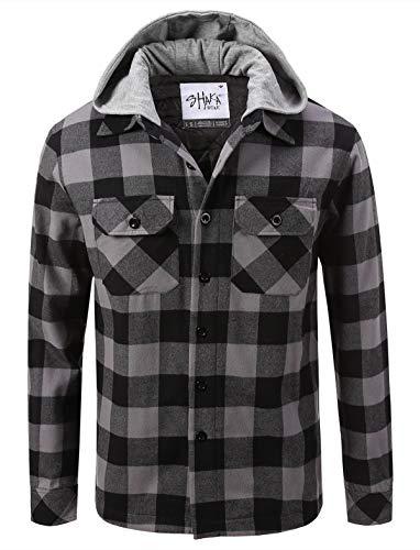 Shaka Wear FFJ0502_2X Hooded Flannel Jacket Quilted Iined Grey/Black 2X