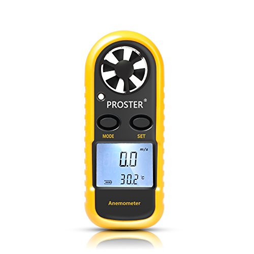 Anemometer, Proster Digital LCD Wind Speed Meter Gauge Air Flow Velocity Measurement Thermometer with Backlight