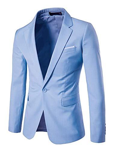 A large Bottone Con Dimensione colore Unita Da Uomo Fit Slim Fessura Fuxitoggo In Un Blazer X Azzurro Tinta Laterale q4Uavx8atw
