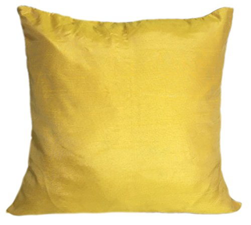 Set of 2 Canary Yellow Silk Pillow Covers 18 x 18
