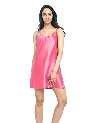 MYK 100% Mulberry Silk Slip Dress, Luxury Chemise Nightgown with Spaghetti Strap for Women, Gift Boxed, S, Watermelon