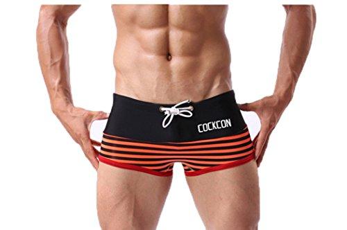 TSin Men's Summer Fashionable Sports Comfortable Trunks Swimming Underwear(Orange Size XXL)