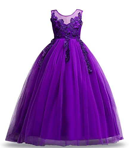 Big Size 7-16 Formal Wedding Dresses for Kids Bridesmaid Flower Girls Dress Up Ball Gown Tutu Sundress Casual Bride Long Tutu Puffy Elegant Junior Poofy Size 9 10 Princess Teen (Black, 150)
