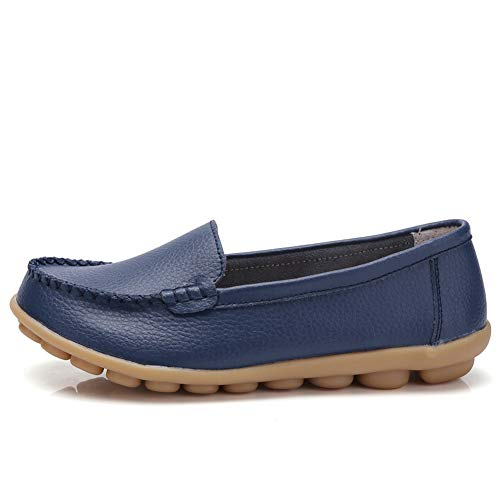 Soft On Comfort Shoes Leather Women's Driving Darkblue Slip Loafers Harence Flats Walking S4YwH5fqn