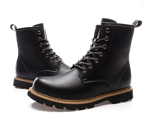 TMKOO Inverno nuovo Martin stivali in pelle da uomo stivali stivali britannici stivali di cotone caldo utensili stivali scarpe da uomo Black+wool