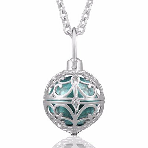 Eudora Harmony Bola Mexico Vintage Style Pandent Necklace Angel Caller Musical Ball Seagreen (Angel Locket Prayer)