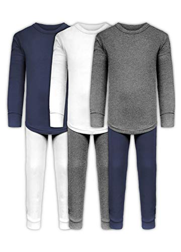 (Boys Long John Ultra-Soft Cotton Sung Fit Base Layer Underwear Sets / 3 Long Sleeve Tops + 3 Long Pants - 6 Piece Mix & Match (3 Sets - White/Grey/Navy, 8/10) )